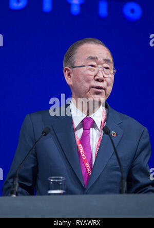 Cannes, France - March 13, 2019: MIPIM - The world's leading property market. Ban Ki-moon, 8th Secretary General of the UN, opened MIPIM's 30th edition. United Nations, Ban Ki Moon, | usage worldwide - Stock Photo