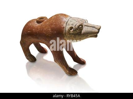 Bronze Age Anatolian terra cotta wolf shaped ritual vessel - 19th to 17th century BC - Kültepe Kanesh - Museum of Anatolian Civilisations, Ankara, Tur - Stock Photo