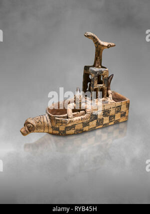 Assyrian Trader Colony Bronze Age terracotta sandal shaped ritual vessed. This cult pot is boat shaped with an animal head at the front. Inside the ve - Stock Photo