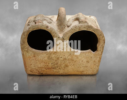 Bronze Age Anatolian terra cotta double boxes for storage - 19th to 17th century BC - Kültepe Kanesh - Museum of Anatolian Civilisations, Ankara, Turk - Stock Photo