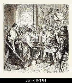 Augustulus the Last Roman Emperor Surrenders to Odoacer - Stock Photo