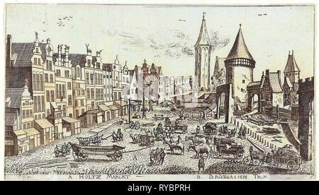 In and around the city of Danzig Series of 14 numbered prints, Aegidius Dickmann, Frederik de Wit, 1605 - 1705 - Stock Photo