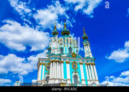 Kiev Old Town Saint Andrew's Church on Hill with Frontal Low Angle View Blue Sky White Clouds Background - Stock Photo