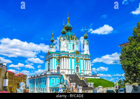 Kiev Old Town Saint Andrew's Church on Hill with Frontal View Blue Sky White Clouds Background - Stock Photo
