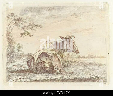 Lying cow on waterfront, Johannes Janson, 1761 - 1784 - Stock Photo