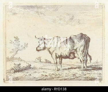 Meadow with standing cow, Johannes Janson, 1761-1784 - Stock Photo