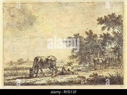 Three cows in pasture, Johannes Janson, 1761 - 1784 - Stock Photo