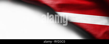 Fabric texture flag of Republic of Latvia. on white background - Stock Photo