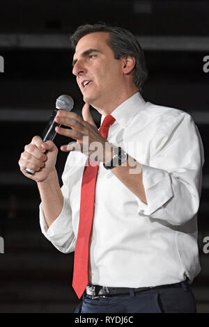 New York, NY - March 08: New York State Senator Michael Gianaris (D, WF) speaks during a campaign rally for Senator Elizabeth Warren (D-Mass) in Long  - Stock Photo