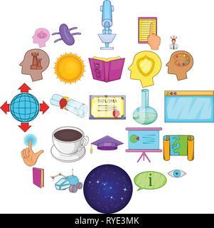 Brainwave icons set, cartoon style - Stock Photo