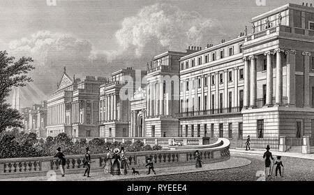 Cumberland Terrace, Regent's Park, London, UK, illustration by Th. H. Shepherd, 1826 - Stock Photo