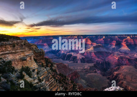 Sunset above south rim of Grand Canyon from the Mather Point - Stock Photo