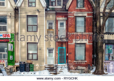 Old Victorian row houses townhouses terrace houses on Elm Street in Old Toronto Ontario Canada - Stock Photo