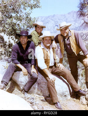 PERNELL ROBERTS, MICHAEL LANDON, DAN BLOCKER, LORNE GREENE, BONANZA, 1959 - Stock Photo