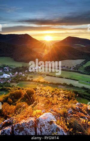 Sunrise on Slovakia mountain panorama landscape - Stock Photo