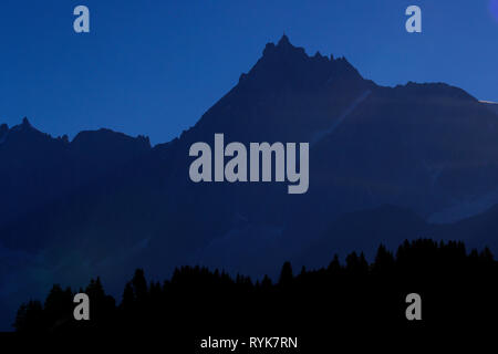 Chamonix Valley, French Alps. The Mont Blanc massif. Aiguille du Midi 3842 m.   France. - Stock Photo