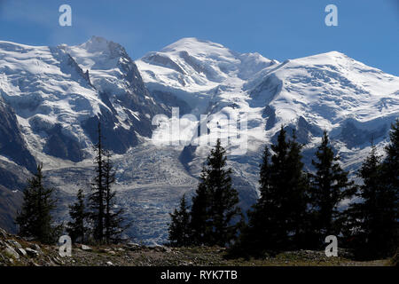 Chamonix Valley, French Alps. The Mont Blanc massif seen from Planpraz.  Bossons glacier.  France. - Stock Photo