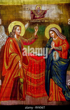 Painting in the Greek orthodox church of the Annunciation, Nazareth, Israel. The Annunciation. - Stock Photo