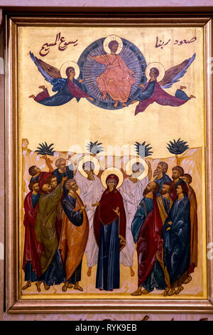 Icon in the Nazareth melkite (Greek catholic) chuch, Galilee, Israel. The Ascension of Jesus. - Stock Photo
