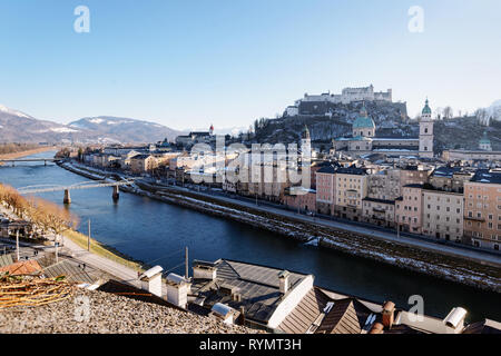 Panorama with Landscape of Old city and Hohensalzburg castle in Salzburg in Austria in Europe. Mozart town in Alps at Salzach River. Fortress and Cath - Stock Photo