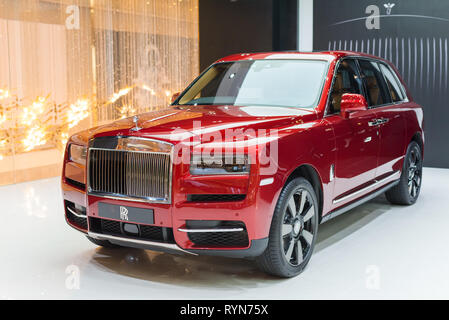 Bangkok, Thailand - December 15, 2018: Rolls-Royce Cullinan in the exclusive showcase of Rolls-Royce Motor Cars Bangkok at Iconsiam Shopping Mall. - Stock Photo