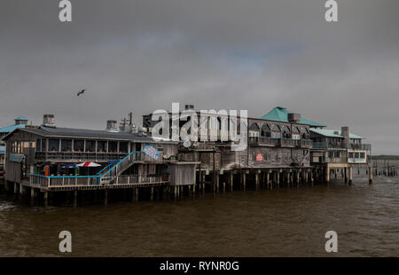 The Big Dock, multi-storey market area, on Dock Street, Cedar Key, West Florida. - Stock Photo