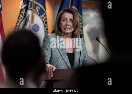 Washington, District of Columbia, USA. 14th Mar, 2019. House Speaker NANCY PELOSI (D-CA) holds her weekly press conference, March 14, 2019 Credit: Douglas Christian/ZUMA Wire/Alamy Live News - Stock Photo