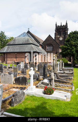 Gravestones in the graveyard of  St Peters church, Woolton, Liverpool.  It was at this church where Paul McCartney and John Lennon first met at a Chri - Stock Photo