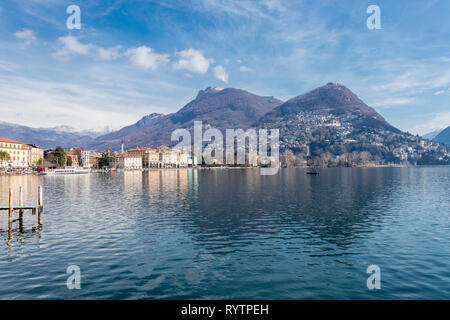 The Lake Lugano in the city of Lugano, Switzerland - Stock Photo