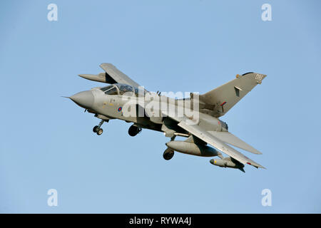 Royal Air Force Panavia Tornado GR4 based at RAF Marham. flying. - Stock Photo