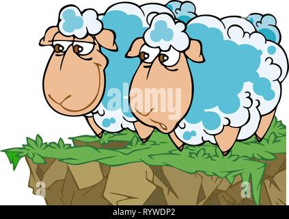 In the vector illustration, two cartoon funny sheep in a meadow. - Stock Photo