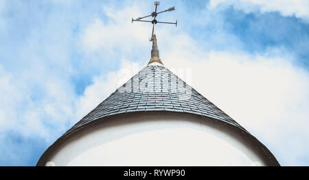 weather vane on the roof top of a windmill on the island of Noirmoutier, France - Stock Photo