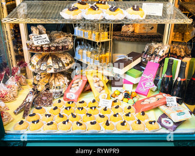 BERGAMO, ITALY - FEBRUARY 25, 2019: window of pastry shop with traditional local sweets in Citta Alta (Upper Town) of Bergamo city, Lombardy - Stock Photo