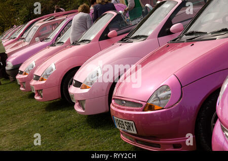 Pink Car Rally on the A38 en route for Birmingham, where mainly women were dressed in pink driving pink cars - Stock Photo