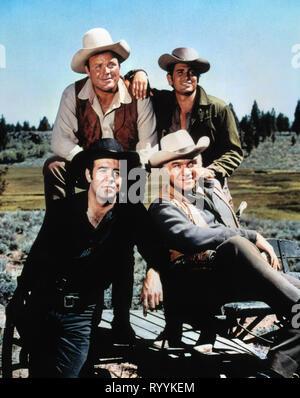 DAN BLOCKER, MICHAEL LANDON, PERNELL ROBERTS,LORNE GREENE, BONANZA, 1959 - Stock Photo