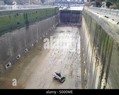 The annual cleaning of the large lock at the Ballard Locks Seattle,WA - Stock Photo