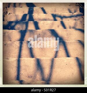 Tree shadow on stairs - Stock Photo