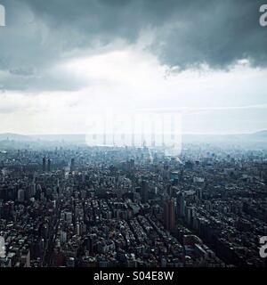 Aerial view over Taipei, Taiwan, from the observatory at the Taipei 101. - Stock Photo