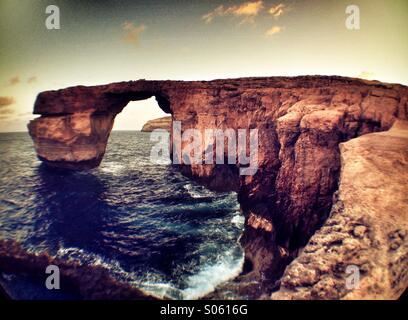 Blue Hole and Azure Window at dawn - Stock Photo
