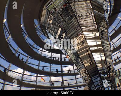 Glass done above Reichstag parliament building in Berlin Germany - Stock Photo