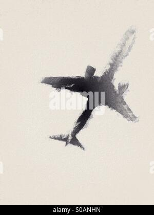 Abstract style illustration of a low flying passenger jet aircraft. - Stock Photo