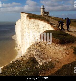 The Belle Tout lighthouse near Beachy Head, Seven Sisters, South Downs, UK - Stock Photo