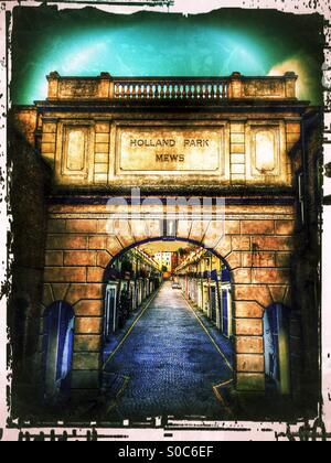 Entrance to Holland Park mews, Royal Borough of Kensington and Chelsea, West London, England, United Kingdom, Europe - Stock Photo