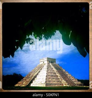 The Mayan-Toltec Piramyd of the Sun or the Piramyd of Kukulkan in Chichen Itza, Piste, Tinum, Yucatan, Mexico - Stock Photo