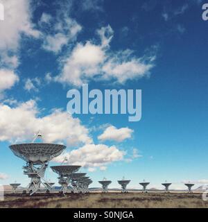 The Vary Large Array (VLA) radio telescope array in Socorro, New Mexico. - Stock Photo