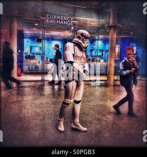 Man dressed up in Star Wars Stormtrooper costume, St. Pancras International Station, Central London, England, United - Stock Photo