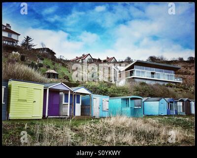 Beach huts, Coldingham Bay - Stock Photo