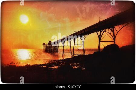 A Sunset view of the Grade One Listed Clevedon Pier in Somerset, England. Construction of The Pier was completed - Stock Photo