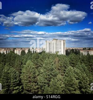 Aerial view of Prypiat ghost town in Chernobyl Nuclear Power Plant Zone of Alienation, Ukraine - Stock Photo