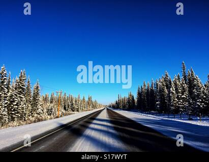 Winter time roadway in late afternoon with tree shadows falling across the road - Stock Photo